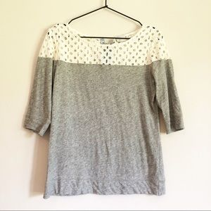 Anthropologie Postmark Eyelet Lace Up Blouse